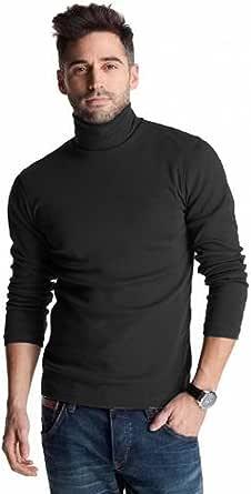Polo negro de algodón pesado de 300 g/m², para invierno, con cuello vuelto, para hombre