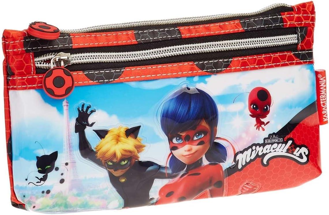 Lady Bug Miraculous- Ladybug Estuche portatodo Plano, Color Rojo, 22 cm (Karactermanía 32798): Amazon.es: Juguetes y juegos