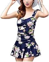 (ワイルドマグノリア)Wild Magnolia 花柄 デザイン タンキニ ワンピース 水着 肩フリル 後ろリボン 体型カバー リゾート 海水浴 プール 海