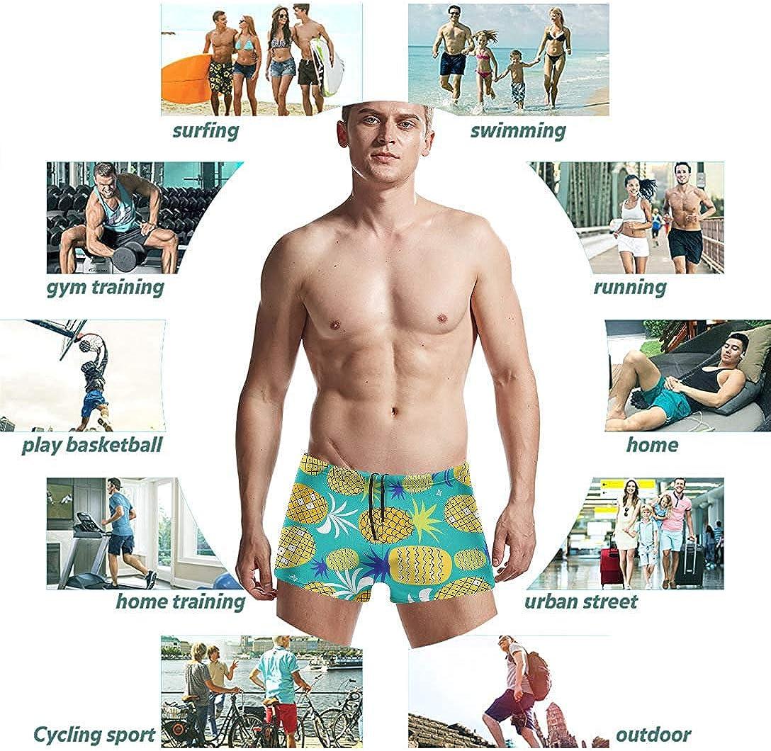 Pineapple Quick Dry Swim Trunks Basic Board Shorts Swimwear Swimsuits for Swimming Surfing COWDIY Mens Swim Boxer Briefs