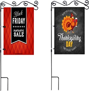 NQ Garden Flag Stand Flagpole, Premium Metal Powder-Coated Weather-Proof Paint with Anti-Wind Clip for Thanksgiving Day Garden Flag (Black) (2 Pcs)