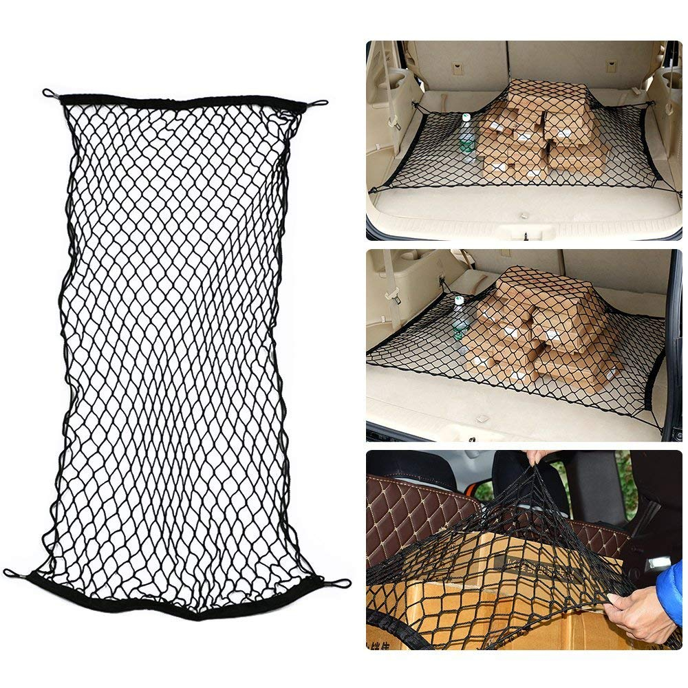 60x120CM to 60x180CM Elastic Nylon Mesh Univeral Rear Heavy Duty Car Organizer Net with 4 Hooks for SUV Pickup Truck Bed Rooftop Travel Luggage Rack MAXTUF Cargo Net