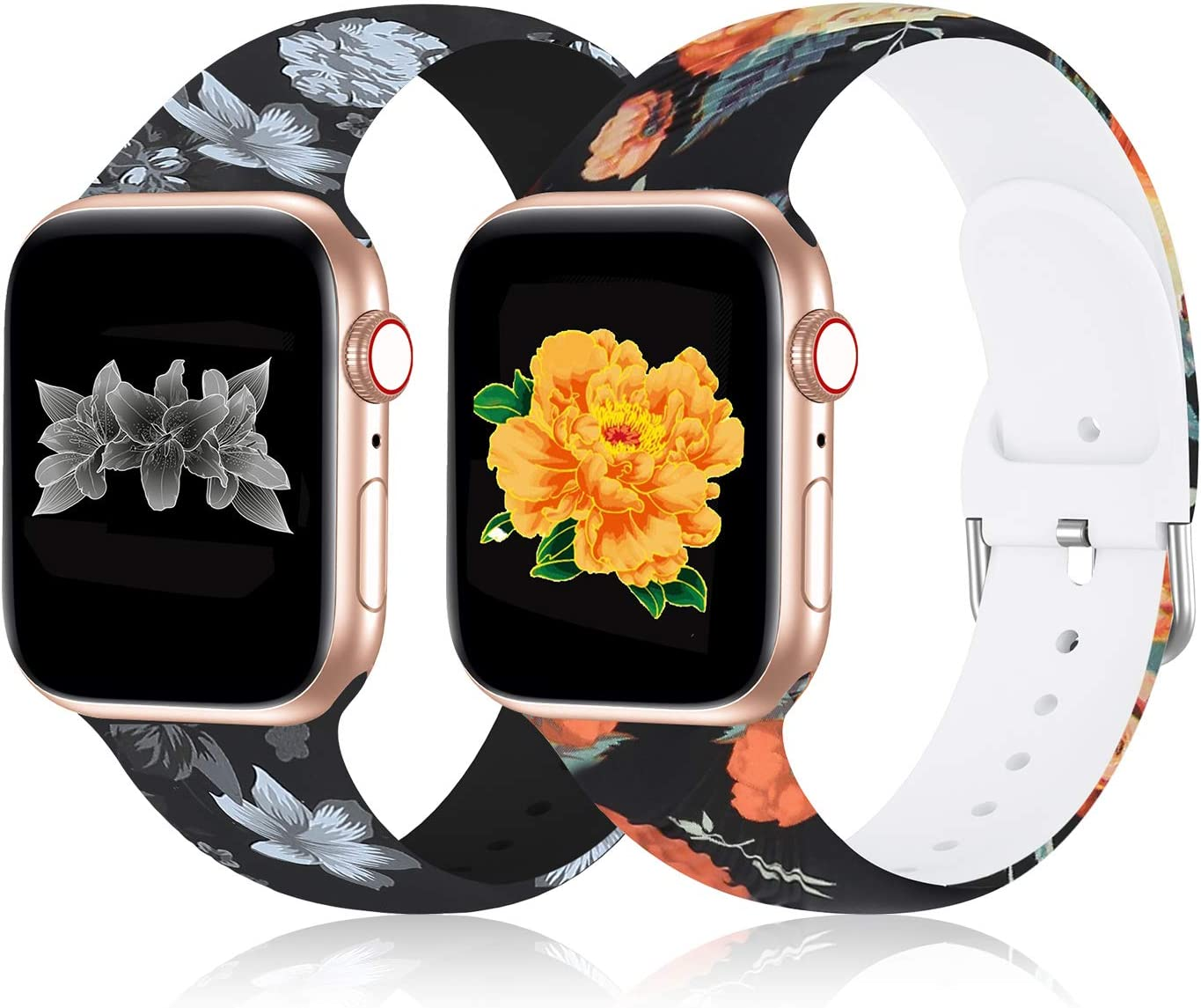 2 Pack Sport Band Compatible with Apple Watch Bands 40mm 38mm, Silicone Sports Band Pattern Printed Women Replacement Floral Fadeless Watch Strap Compatible for iWatch Band Series 5/4/3/2/1