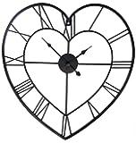 40cm Iron Metal HEART Skeleton Wall Clock ~ Black