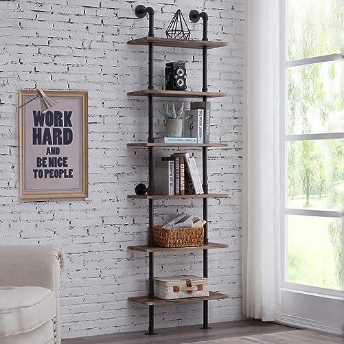 Deal of the week: Hombazaar Industrial 6-Tier Modern Ladder Shelf Bookcase