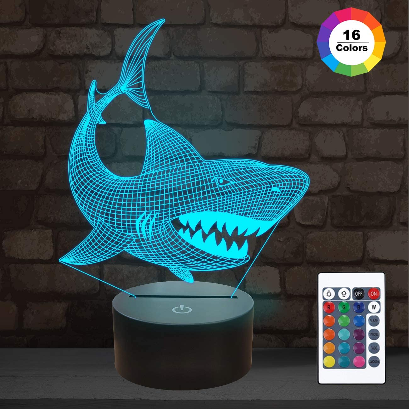 Shark 3D Illusion Night Light Animal Touch Table Desk Lamp, with Remote Control 16 Colors Optical USB LED Nightlight for Kids Holiday Gift Room Decoration