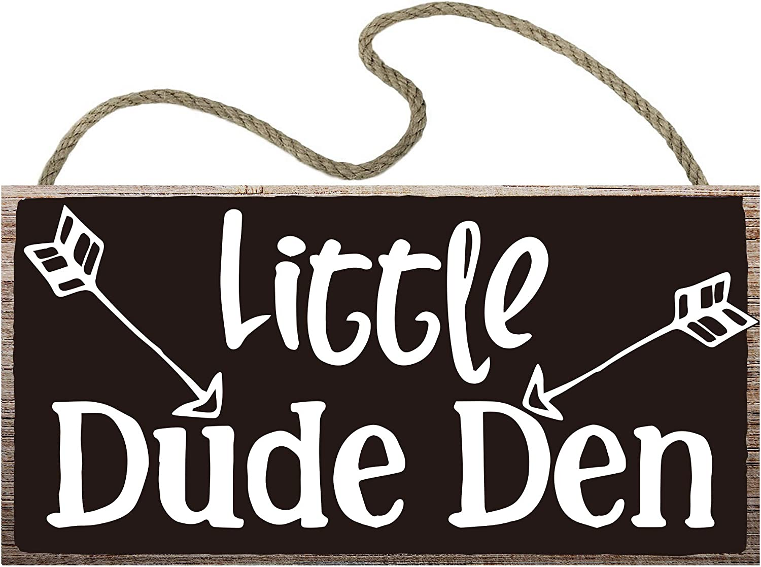 vizuzi Little Dude Den Hanging Boys Room Sign Decor - 12 x 6, Wood Sign Wall Art Decor Gift for Boy or Kids.