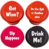 Naughty - Funny Wine Stoppers - Four Silicone Reusable Corks
