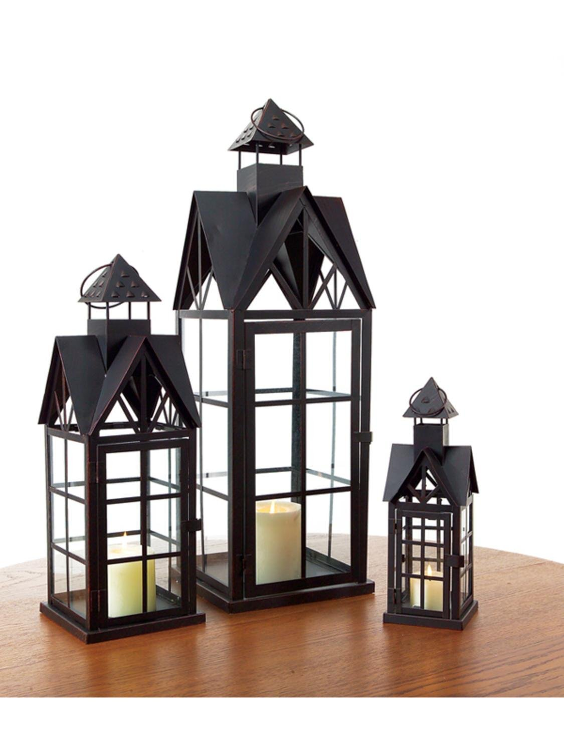 Set of 3 Country Bistro Black Metal House Pillar Candle Lanterns by CC Home Furnishings