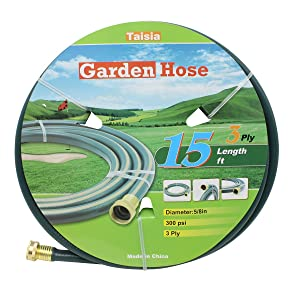 "Taisia Garden/Farm/Water Hose 5/8""x15ft/25ft/50ft - 3PLY Great for Gardens/Farm and Ranch (15 FT)"