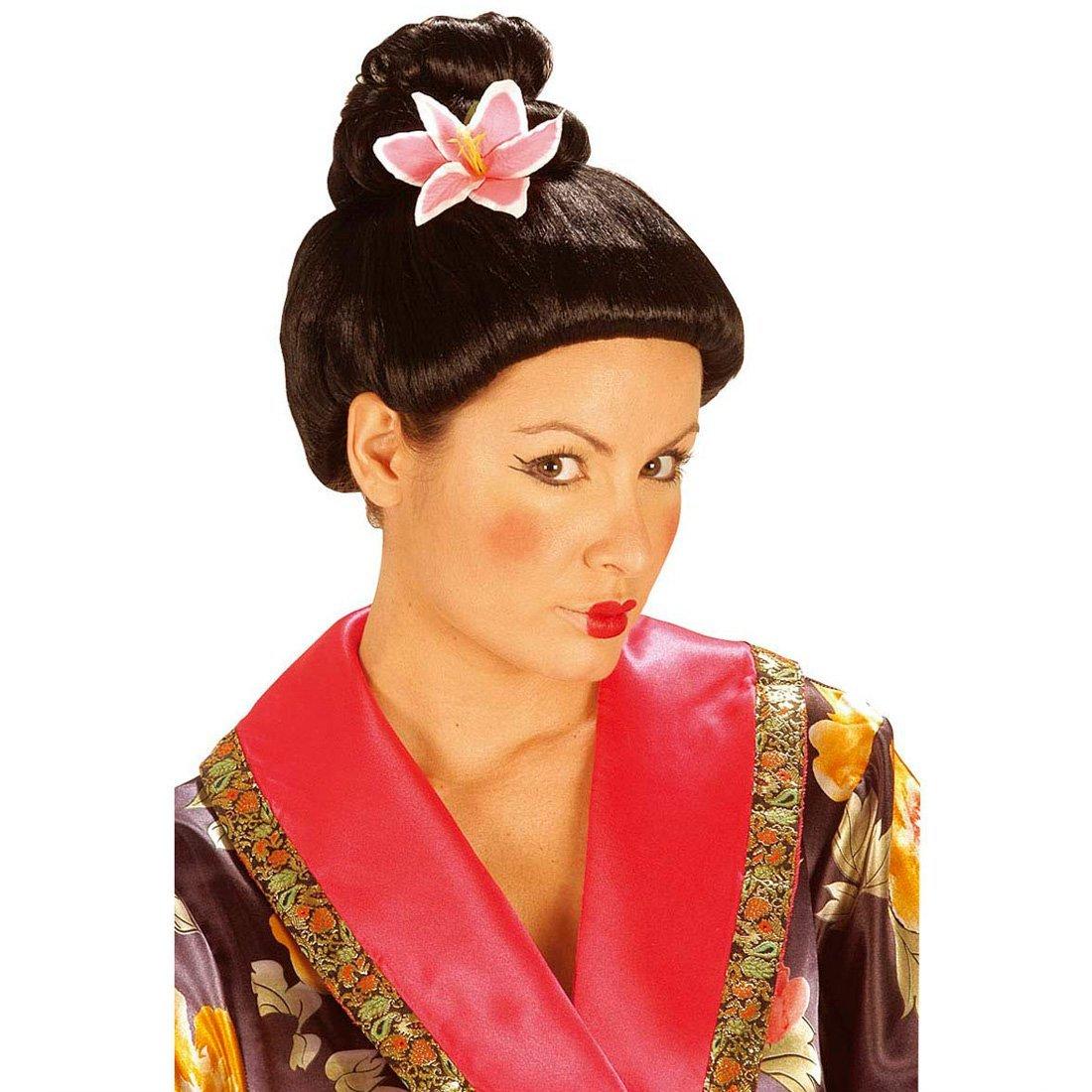 Peluca de geisha con flor pelo postizo japonés: Amazon.es: Juguetes ...