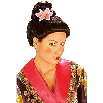 Peluca de geisha con flor pelo postizo japonés