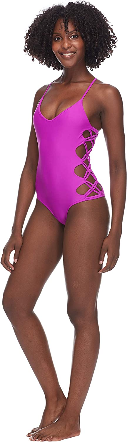 Body Glove Womens Smoothies Crissy Solid One Piece Swimsuit with Strappy Side Detail One Piece Swimsuit Magnolia