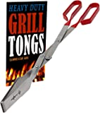 Grill Tongs - Heavy Duty Barbecue Grilling Tong w Red PVC Handle - Long Stainless Steel BBQ Tool - Wide Grip Kitchen…