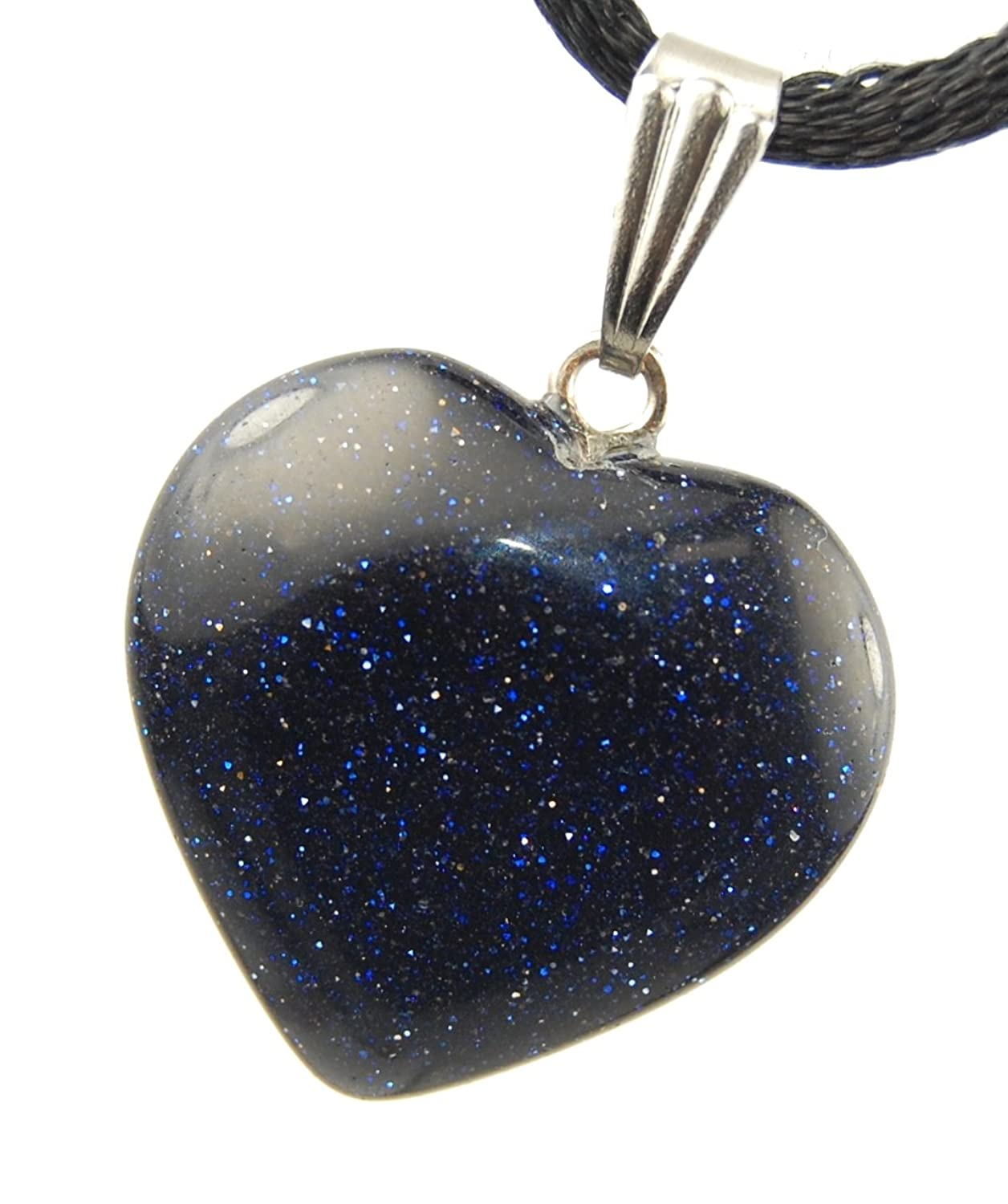 """Big Heart Collection - 20mm Classic Galaxy Goldstone Black Blue Sparkle, 20"""" Adjustable Soft Black Poly Woven Washable Cord Stainless Bail - Natural Crystal Gemstone Carved Necklace Charm"""
