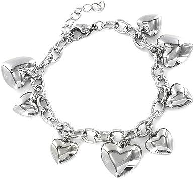 West Coast Jewelry 7/½ inch ELYA Engraved Heart Charm Stainless Steel Bracelet