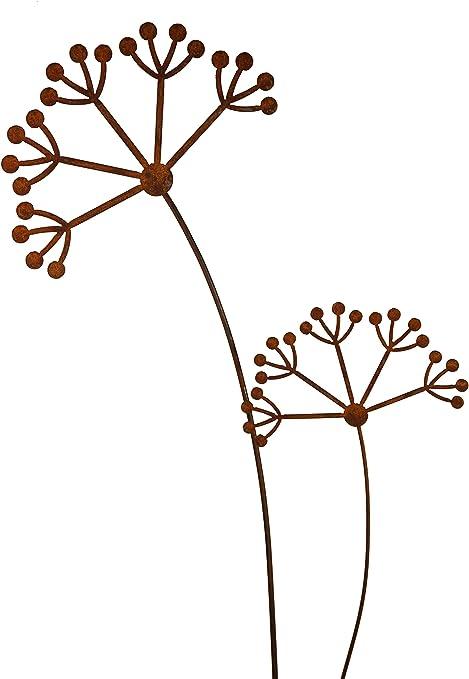 Rost Gartenstecker Metall Stecker 68975 Dekostecker PUSTEBLUME Blume 90 cm