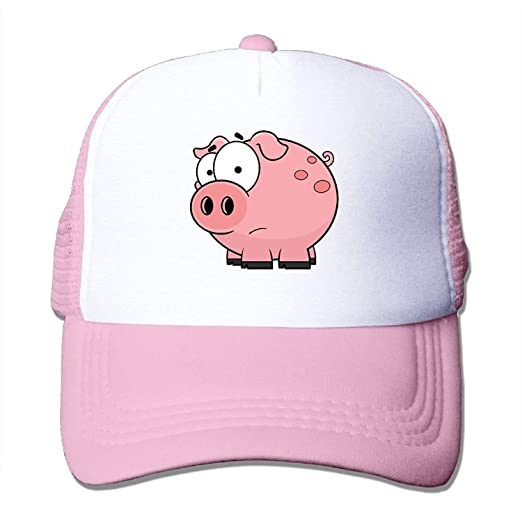 Foreveryoungforyou Adult Cartn Pink Pig Casual Trucker Cap Hat Black