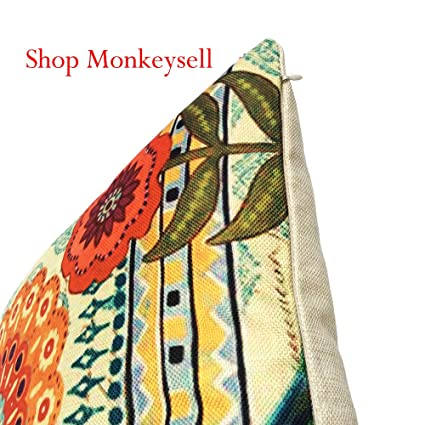 MS-04501817 S018A5 Monkeysell Peacock Pattern Vintage Cotton Linen Square Throw Pillow Case Decorative Cushion Cover Pillowcase Cushion Case Sofa,Bed,Chair18 X 18 Inch