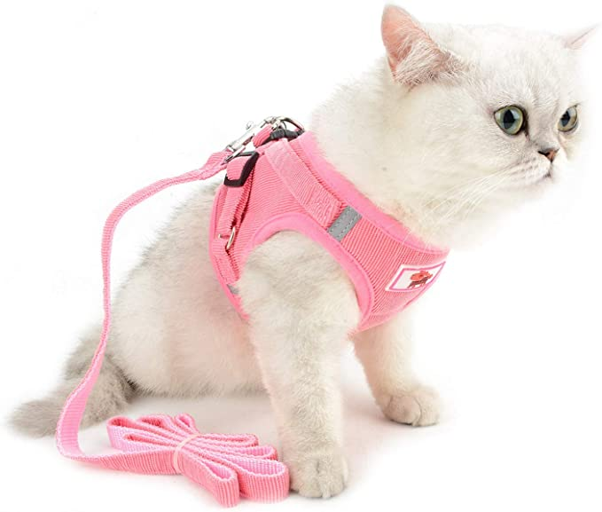 Cat Harness and Leash for Walking Escape Proof Domkim Soft Mesh No Pull Dog Harness and Leash Set for Small Medium Dogs//Cats
