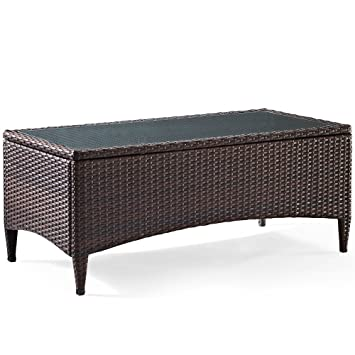 Perfect Crosley Furniture Kiawah Outdoor Wicker Table With Glass Top  Brown