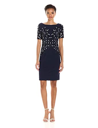 b27fbc0d5ba Adrianna Papell Women s Short Sleeve Jersey Beaded Cocktail Dress at ...