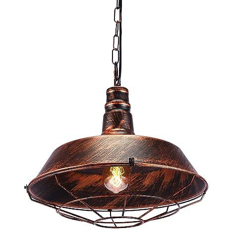 Glighone Lámpara Colgante Vintage Lámpara de Comedor Retro Luz de Techo de Metal Estilo Rústico Iluminación Interior Casquillo E27 No Incluye Bombilla ...