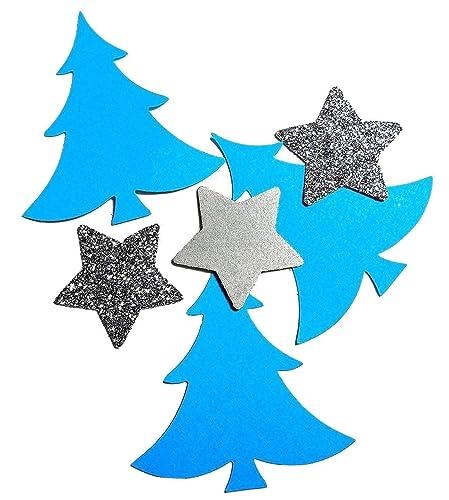 Tannenbaum Konfetti Blau Silber Glitter Stern Tischdekoration
