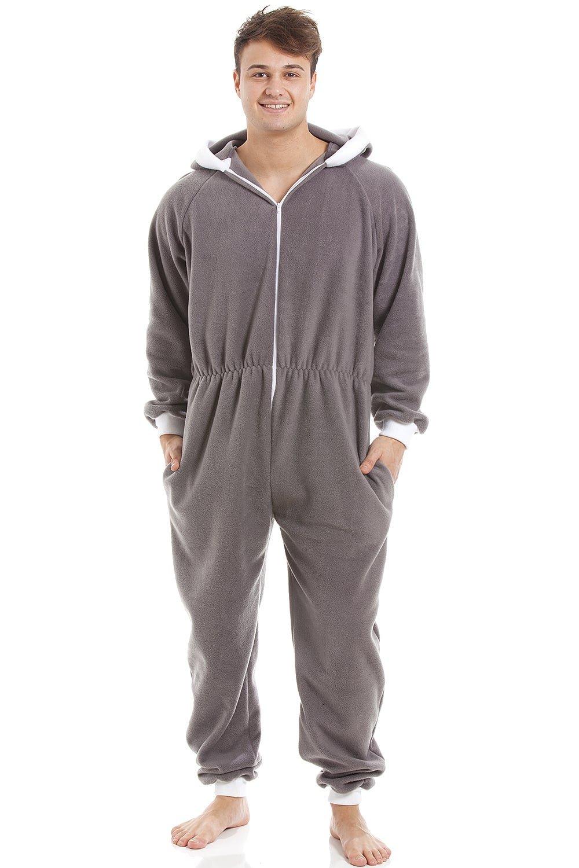Camille Mens Grey Supersoft Fleece Zip Front Hooded Onesie