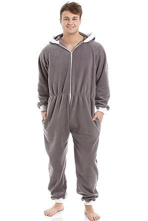 Camille Mens Gray Supersoft Fleece Zip Front Hooded Onesie S Gray