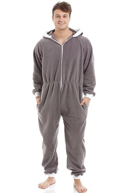 Pijama de una pieza para hombre - Forro polar suave - Con capucha y cremallera frontal - Gris: Amazon.es: Ropa y accesorios