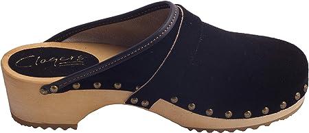 Absoft Clogs DWC06 - Zuecos de madera para mujer, color negro