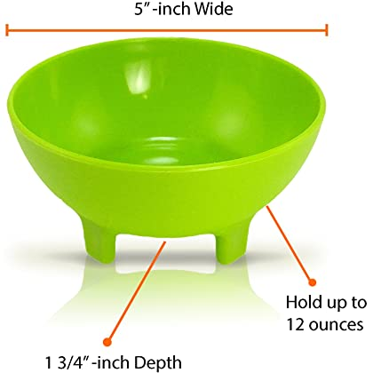 Great to use at any event Snack Black Plastic Mexican Molcajete Chips Guacamole Serving Dish Sauce Cup Side dish Salsa Bowls by KSEVEN Dip Nuts or Candy Chips