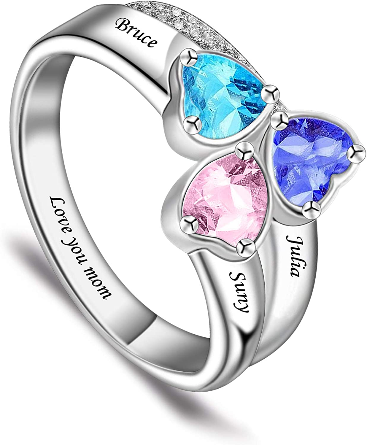 BAUMA Mothers Ring with 3 Birthstones Personalized 925 Sterling Silver Custom Engraved Name Anniversary Ring for Women