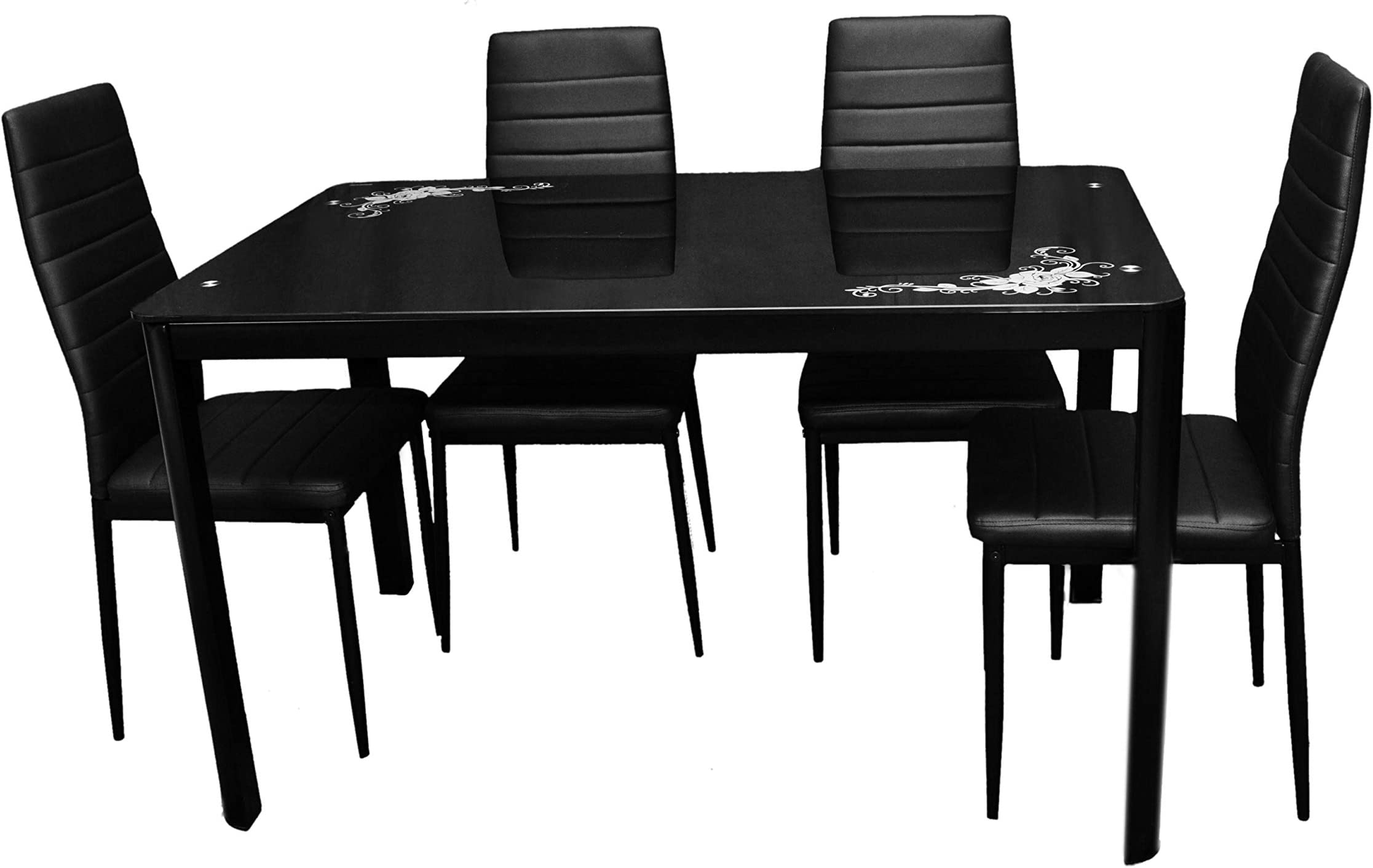 Zena Metal And Glass Dining Table Set With 4 Chairs Black 130 Cm X 80 Cm X 74 Cm Price In Uae Amazon Uae Kanbkam