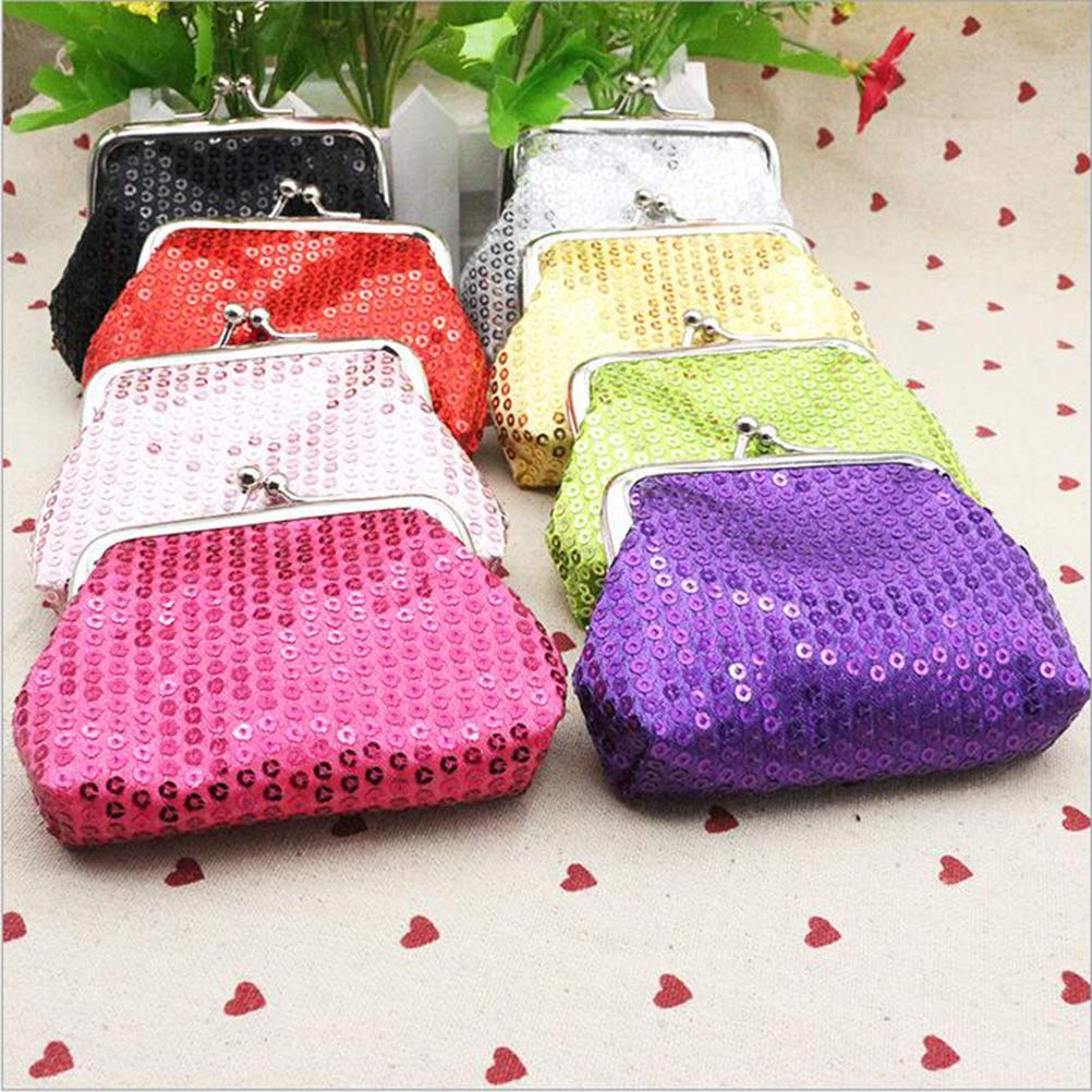 Toyvian 8pcs Coin Purse Sequin Bling Wallet Pocket Mini Coin Pouch Purse for Girl Kid Child