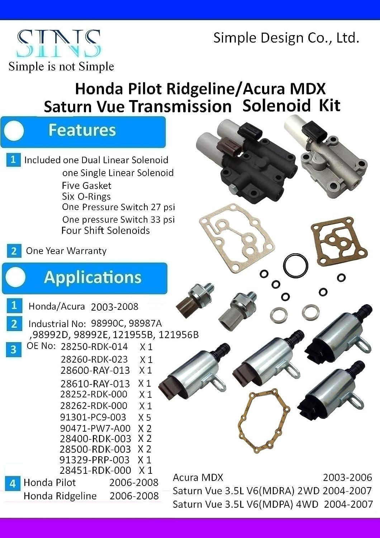 Honda Pilot Ridgeline Acura Mdx Saturn Vue 35l V6 2003 Transmission Wiring Harness Solenoid Pressure Switch Kit 28250 Rdk 014 28260 023 28400 003