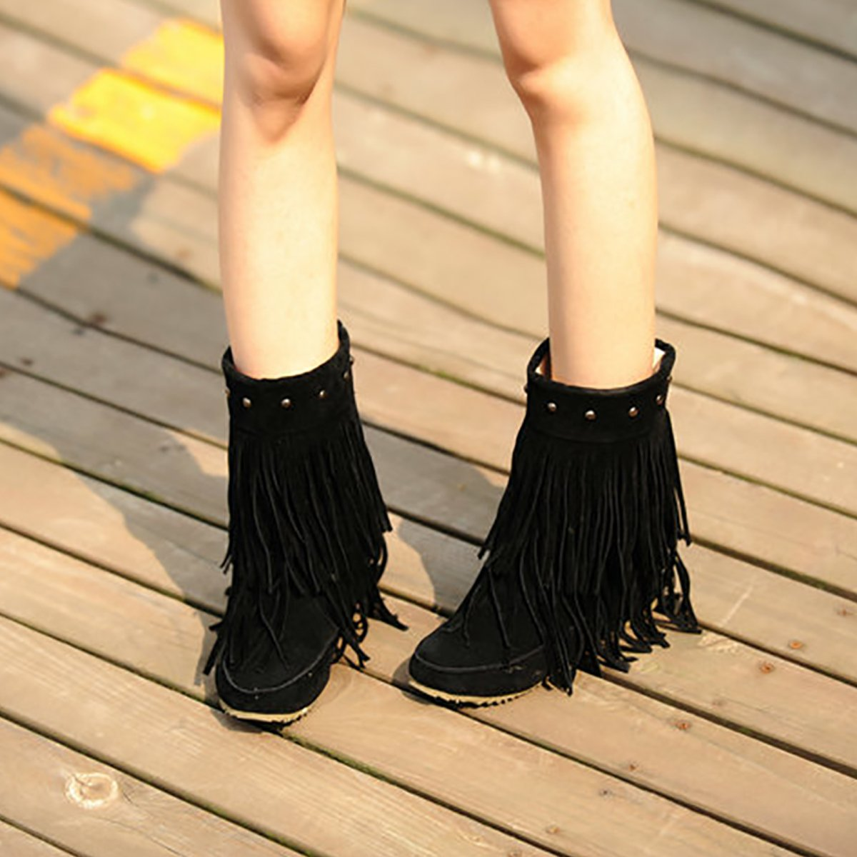 Inornever Suede Fringe Moccasin Boots Mid Calf Women's Round Toe Flat Heel Ladies Winter Fashion Snow Booties