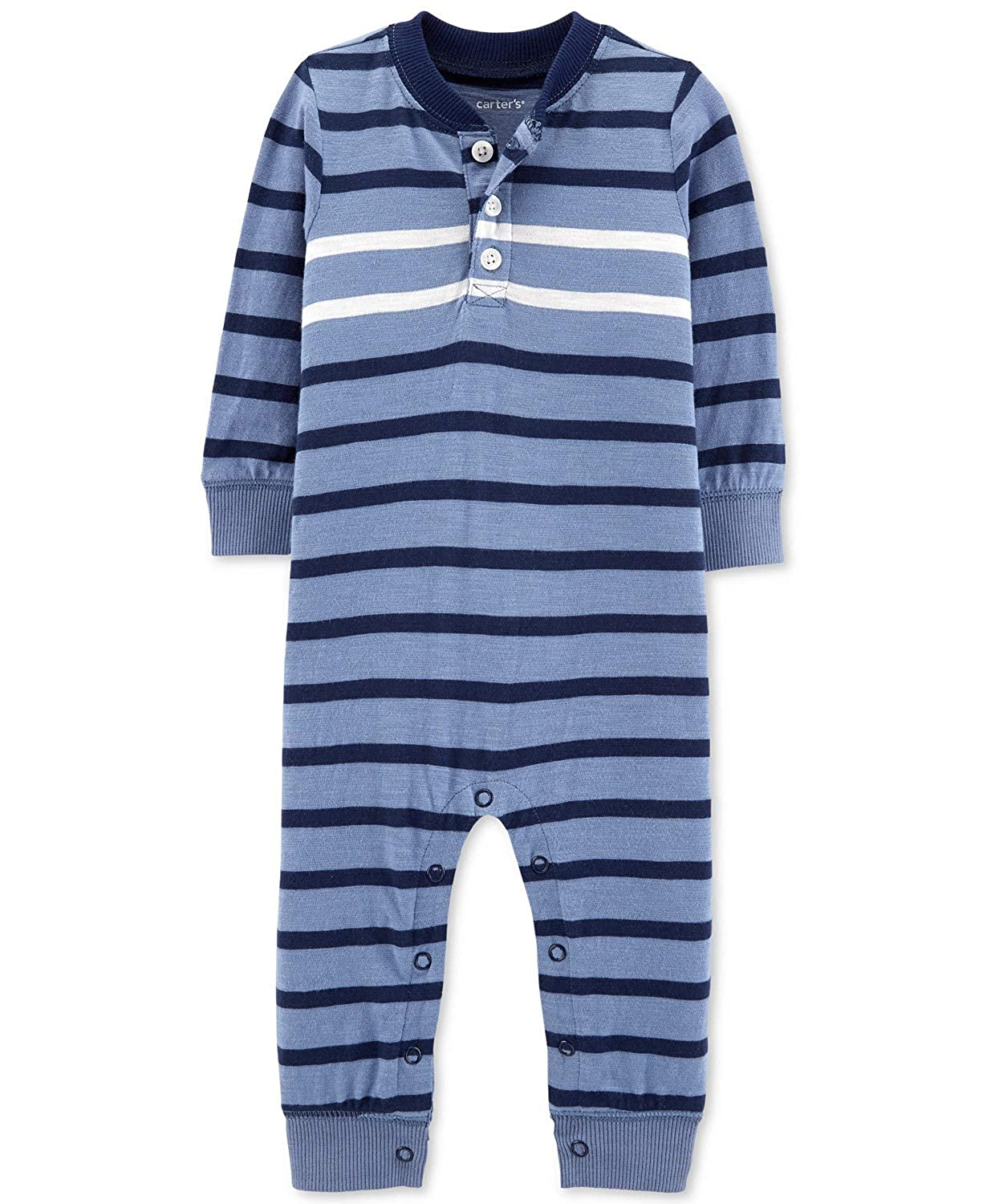 Carters Baby Boys L//S Striped Coverall Blue