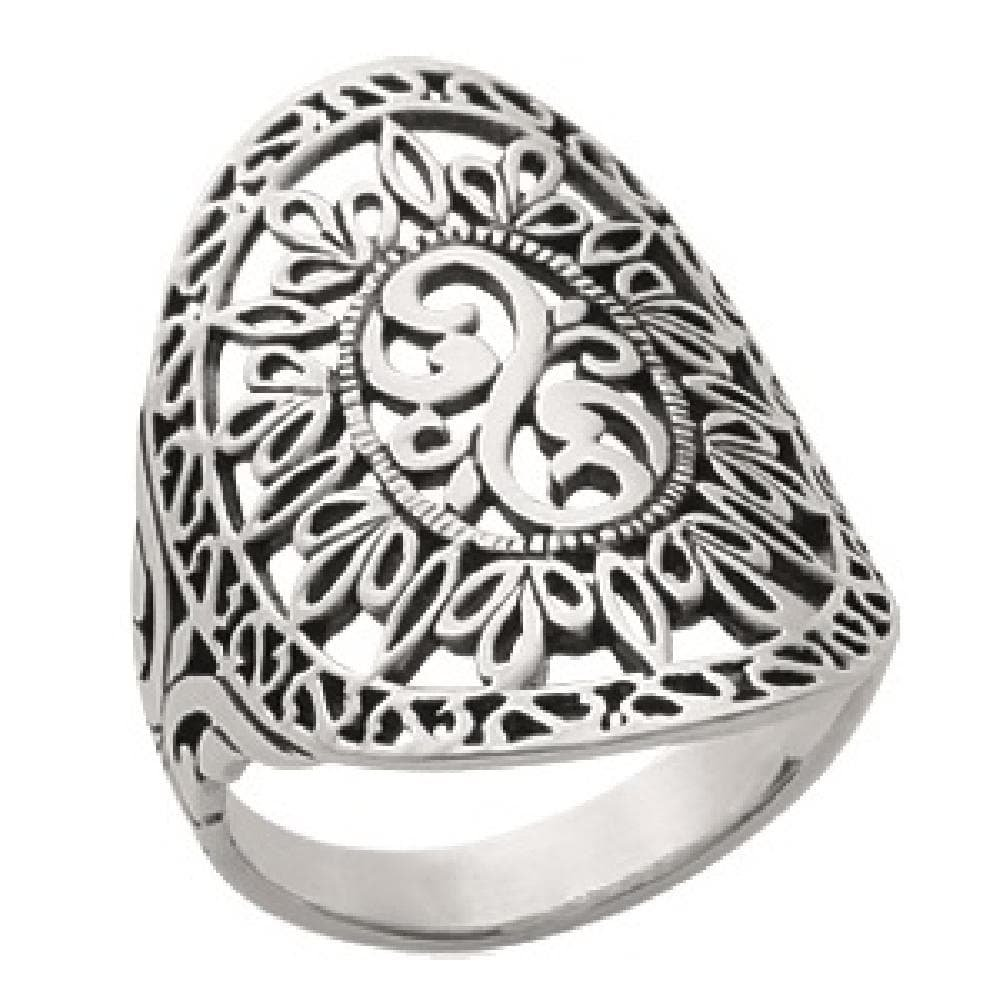 So Chic Jewels - Ladies Sterling Silver Disc Embossed Cut Style Coat of Arms Ring - Size 8.5