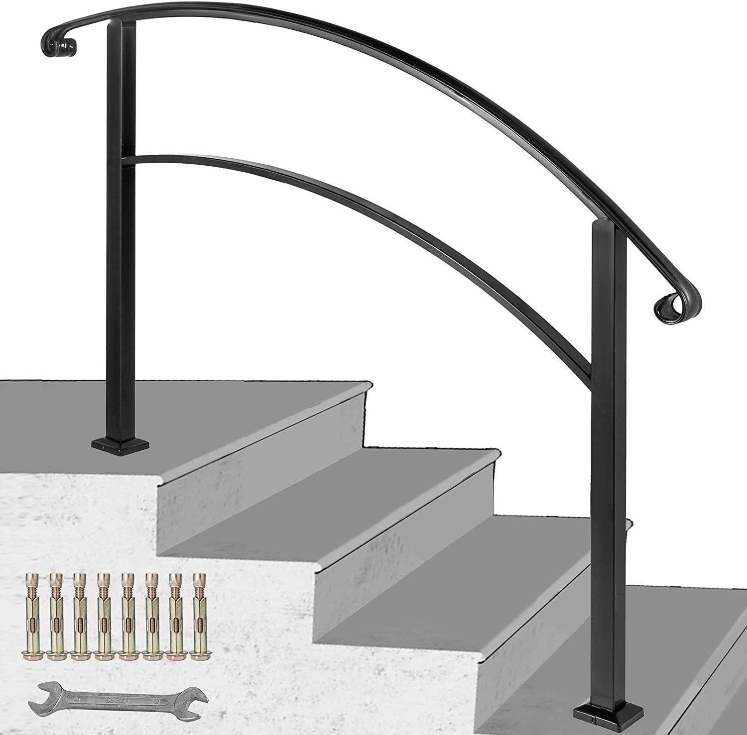 Handrails for Outdoor Steps,Outdoor Handrails Metal Wrought Iron Handrail Wall Mounted Stair Railing Bracke Black Handrail Railings for Steps Porch(Black)