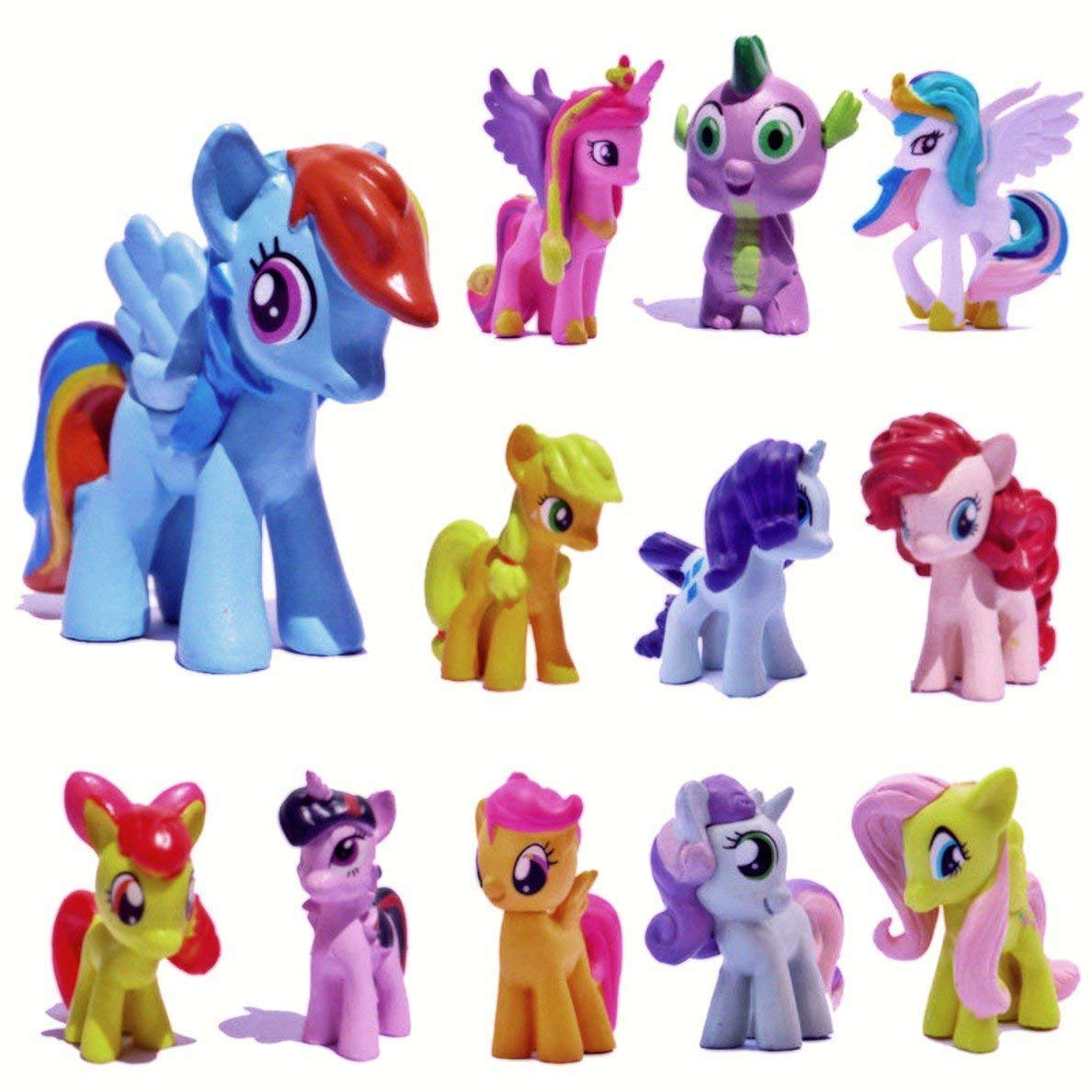 ATII 12 pcs The Little Pony Horse Toys   PVC Mini Figure Collection Playset   1.5-2' Tall Horse Figure Toys for Kids Cupcake Cake Toppers by ATII