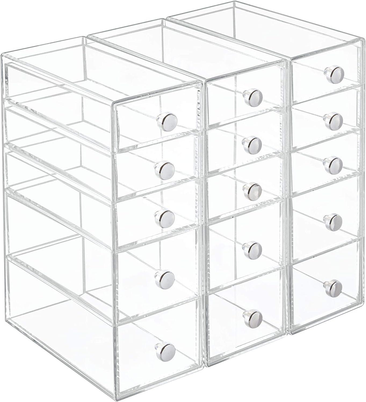 iDesign Drawers Schubladenturm transparent Badezimmerablage mit 5 Schubladen f/ür Kosmetik /& Accessoires und auch f/ür B/üro-und Bastelbedarf Kunststoff