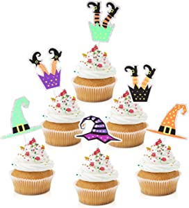 18pcs Witch Cupcake Toppers - Halloween Party Glitter Witch Leg Dessert Food Picks - Birthday Witch Hat Party Cake Supplies Decorations