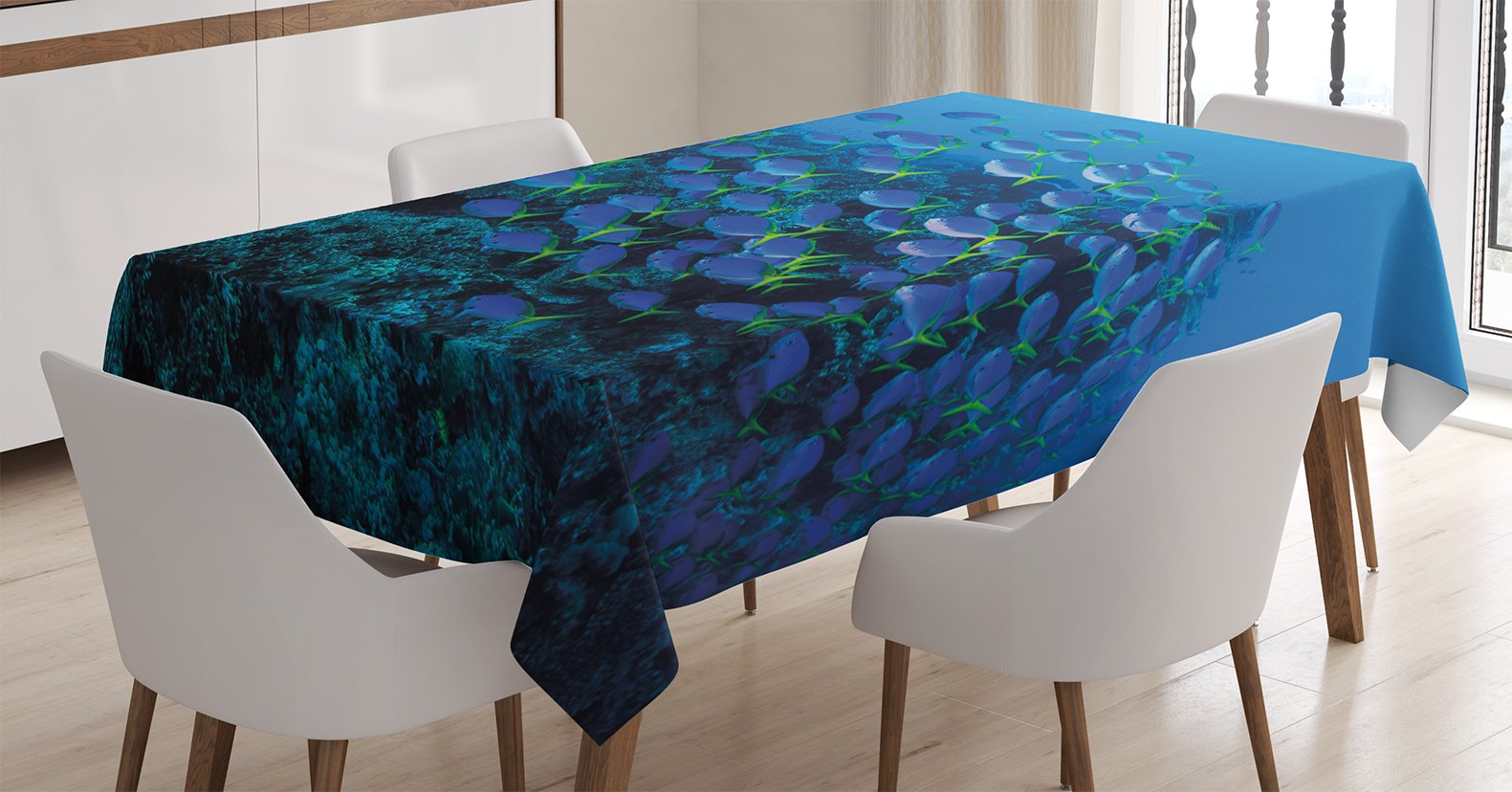 Ambesonne Ocean Decor Tablecloth, Shoal of Fish on Stony Plant Animals in Submarine and Sun Beams on The Surface Image, Dining Room Kitchen Rectangular Table Cover, 60 W X 84 L inches, Multi