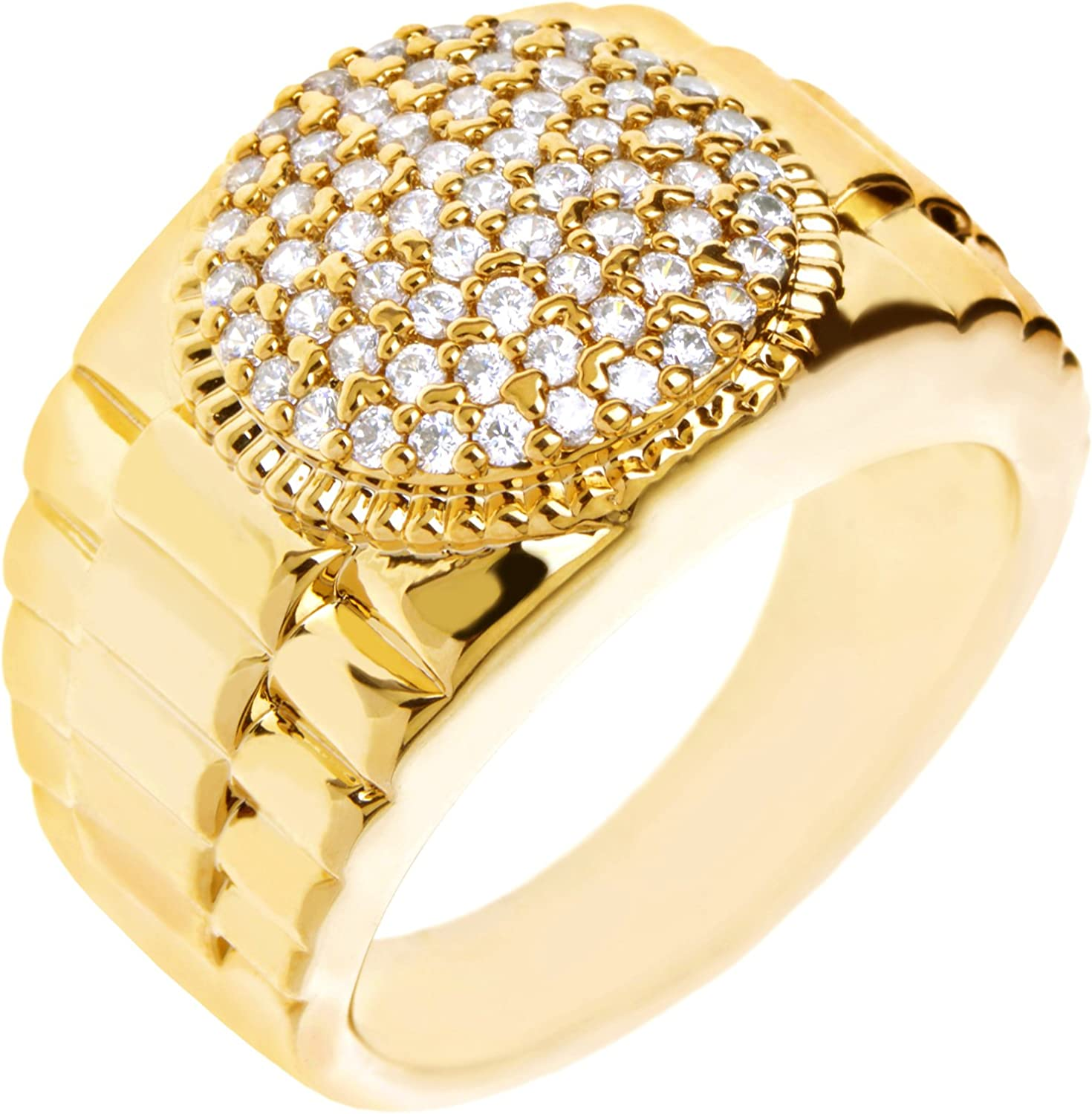 Men/'s Hip Hop 14k Gold Plated Brass Hand Setting CZ Band  Band Pinky Rings