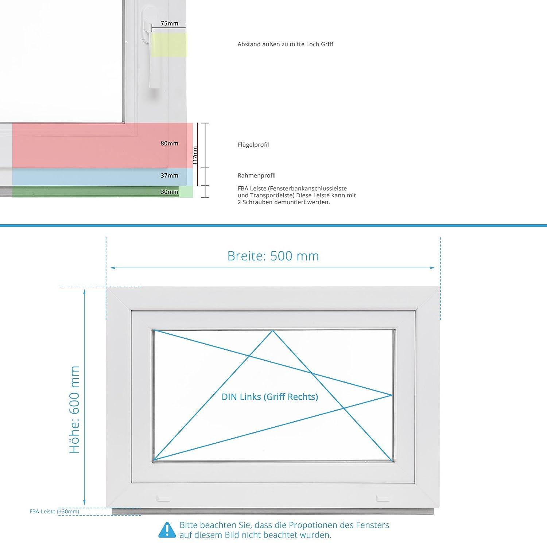 2 fach Verglasung Alle Gr/ö/ßen Dreh Kipp Wei/ß BxH: 55x100 cm DIN Links Fenster Kellerfenster Kunststofffenster Breite: 55 cm Premium