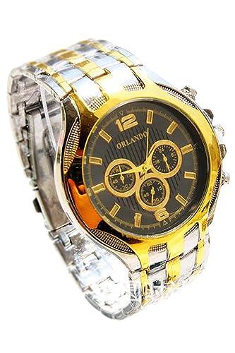 Reloj de pulsera - Orlando Reloj de pulsera de cuarzo de esfera de color oro de banda de acero de aleacion para hombres: Amazon.es: Relojes