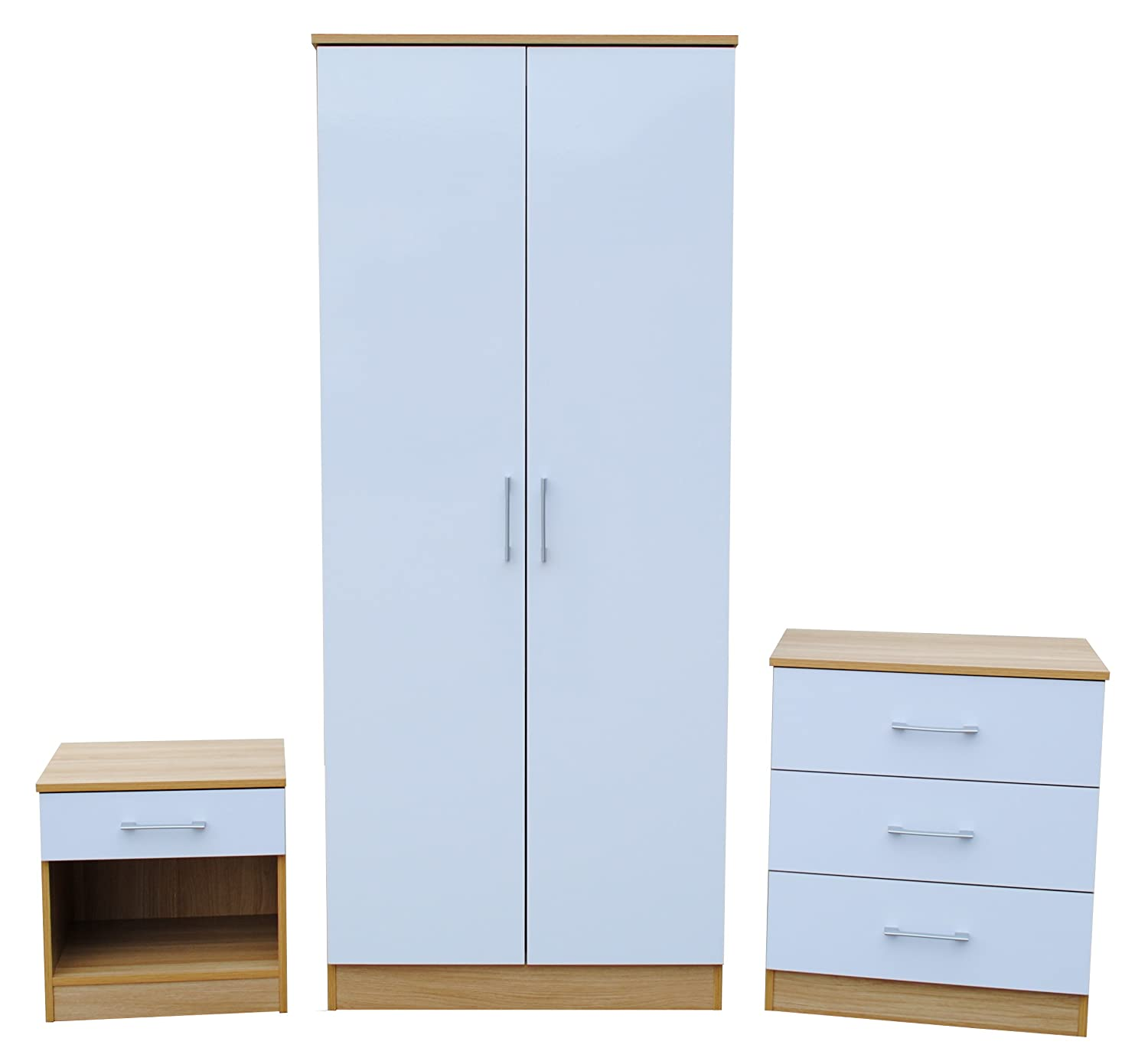 NEW High Gloss 3 Piece Trio Bedroom Set Wardrobe Bedside Chest - Gloss White & Oak .Dimensions: Wardrobe: H180 x W 76 x D 47 cm. 3 Drawer Chest: H 69 x W 60 x D 40 cm. Bedside Chest: H 46 x W 45 x D35 cm. [Energy Class A+++]