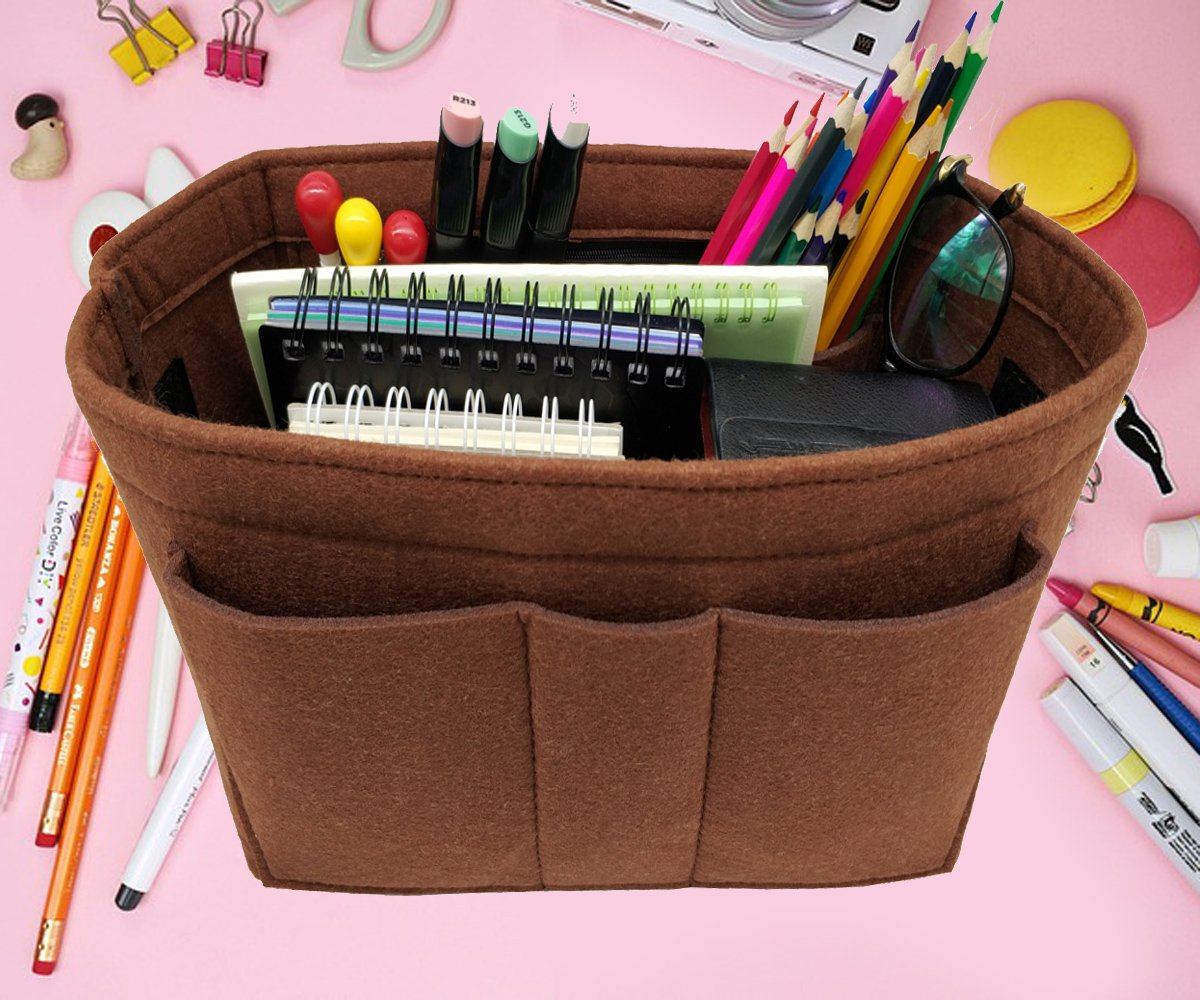 LEXSION Felt Insert Fabric Purse Organizer Bag, Bag Insert in Bag with Zipper Inner Pocket Brown XL by LEXSION (Image #5)